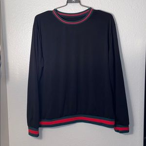Tops - Red black and green long-sleeve crew neck L